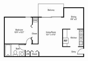 1 Bedroom, 1 Bath 724 sq. ft.