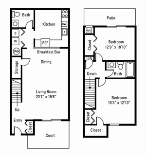 2 Bedroom, 1.5 Bath Townhome 1,080 sq. ft.