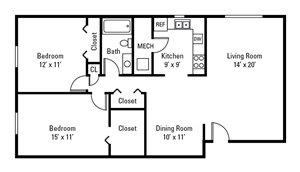 2 Bedroom, 1 Bath 1,047 sq. ft.