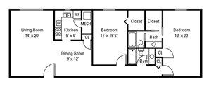 2 Bedroom, 2 Bath 1,220 sq. ft.