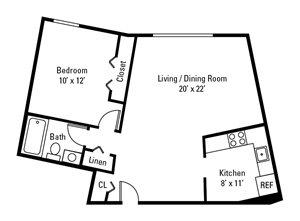 1 Bedroom, 1 Bath 634 sq. ft.