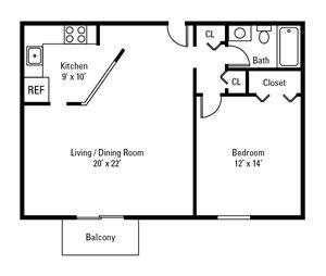 1 Bedroom, 1 Bath 687 sq. ft.