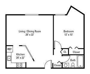 1 Bedroom, 1 Bath 698 sq. ft.