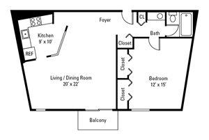 1 Bedroom, 1 Bath 779 sq. ft.