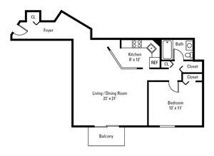 1 Bedroom, 1 Bath 825 sq. ft.