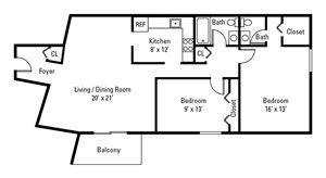 2 Bedroom, 1.5 Bath 1,000 sq. ft.