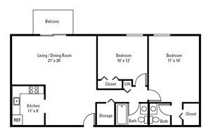 2 Bedroom, 1.5 Bath 906 sq. ft.