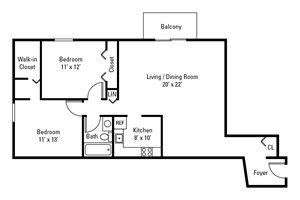 2 Bedroom, 1 Bath 951 sq. ft.