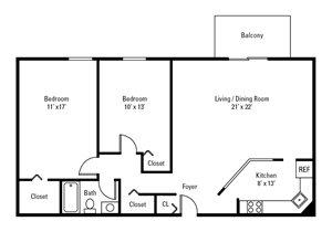 2 Bedroom, 1 Bath 972 sq. ft.