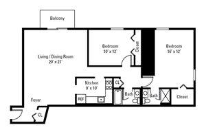 2 Bedroom, 2 Bath 1,083 sq. ft.
