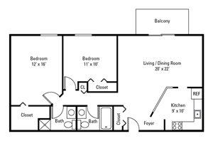 2 Bedroom, 2 Bath 938 sq. ft.