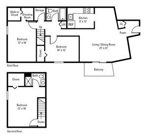 3 Bedroom, 2 Bath 1,330 sq. ft.