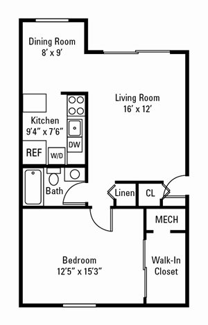 1 Bedroom, 1 Bath 749 sq. ft.