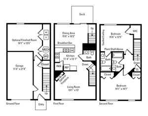2 Bedroom, 2.5 Bath Townhome 1,480 sq. ft.