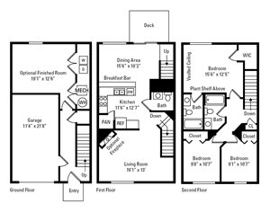 3 Bedroom, 2.5 Bath Townhome 1,480 sq. ft.