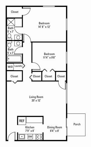 2 Bedroom, 2 Bath 950 sq. ft.