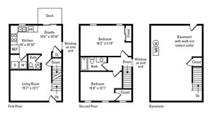 2 Bedroom, 1.5 Bath Townhome 1,626 sq. ft.