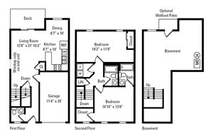 2 Bed, 2.5 Bath Townhome with Garage 2,026 sq. ft.