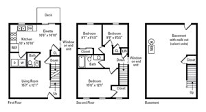 3 Bedroom, 1.5 Bath Townhome 1,626 sq. ft.