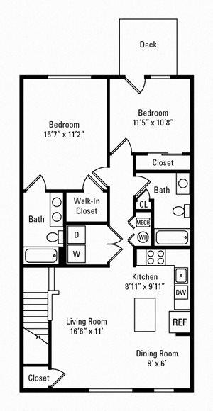 2 Bedroom, 2 Bath 1,200 sq. ft.