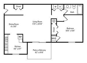1 Bedroom, 1 Bath 750 sq. ft.