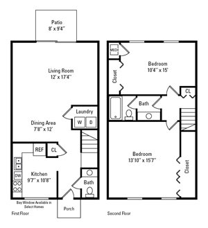 2 Bedroom, 1.5 Bath Townhome 1,184 sq. ft.