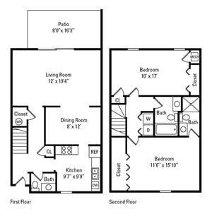 2 Bedroom, 2.5 Bath Townhome 1,390 sq. ft.