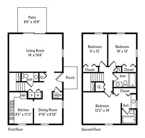 3 Bedroom, 2.5 Bath Townhome 1,390 sq. ft.