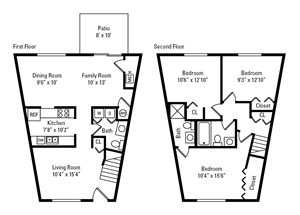3 Bedroom, 2.5 Bath Townhome 1,260 sq. ft.