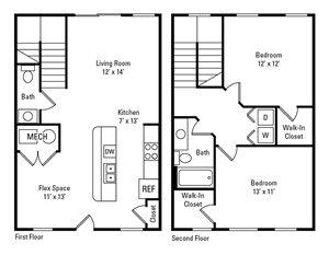 2 Bedroom, 1.5 Bath 1,007 sq. ft.