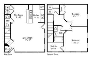 2 Bedroom, 1.5 Bath 1,008 sq. ft.