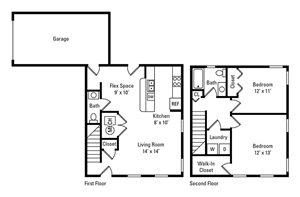 2 Bedroom, 1.5 Bath 970 sq. ft.
