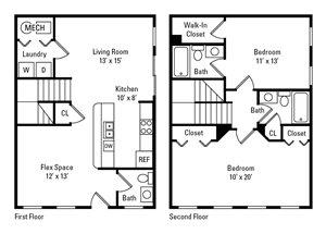 2 Bedroom, 2.5 Bath 1,164 sq. ft.