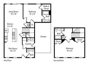 2 Bedroom, 2.5 Bath 1,288 sq. ft.