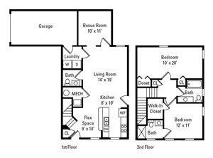 2 Bedroom, 2.5 Bath 1,296 sq. ft.
