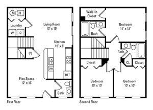 3 Bedroom, 2.5 Bath 1,164 sq. ft.