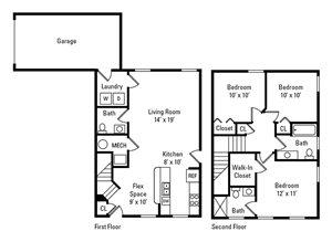 3 Bedroom, 2.5 Bath 1,169 sq. ft.