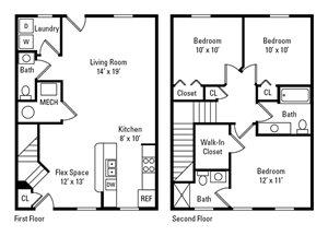 3 Bedroom, 2.5 Bath 1,179 sq. ft.