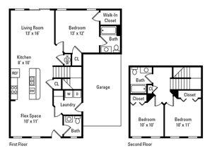 3 Bedroom, 2.5 Bath 1,288 sq. ft.