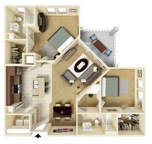 Two Bedroom Two Bath Apartment Home