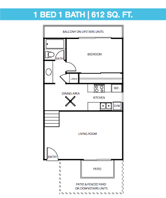 1 Bed, 1 Bath Down Stairs Floor Plan 1