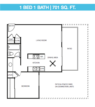 1 Bed, 1 Bath Large Down Stairs Floor Plan 2
