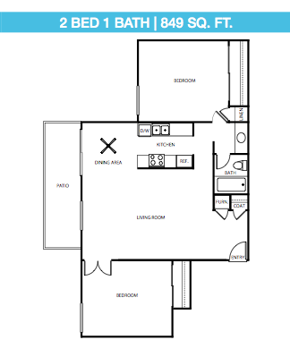 2 Bed, 1 Bath Upstairs Floor Plan 5
