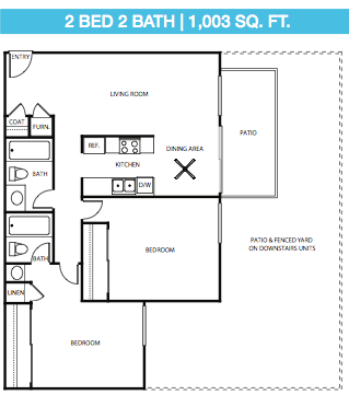 2 Bed, 2 Bath Down Stairs Floor Plan 6
