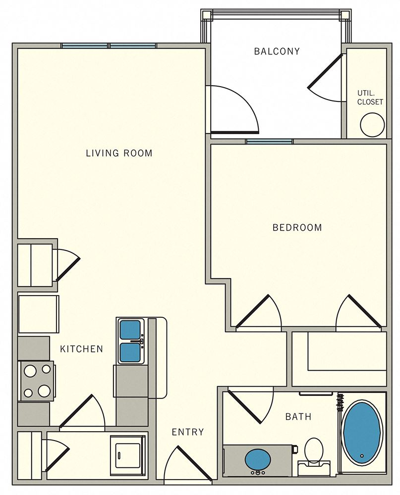 one bed, one bath, The Lookout at Comanche Hill | Unit A2 - one bed, one bath, at CLEAR Property Management , The Lookout at Comanche Hill Apartments, 78247