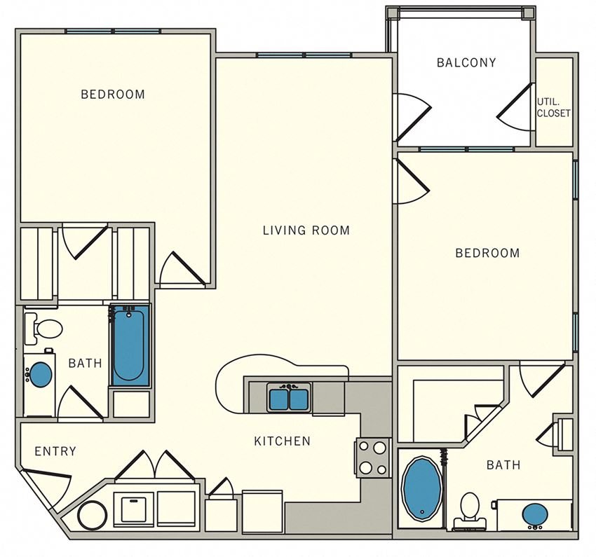 2 Bedroom Floor Plan, The Lookout at Comanche Hill | Unit B2 - two bed, two bath