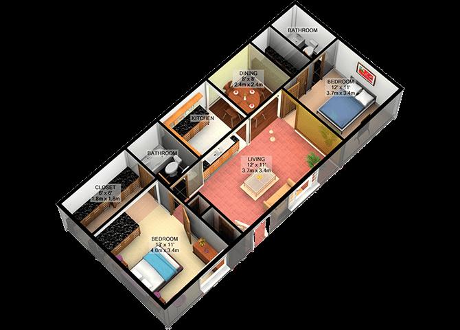 B1 Two Bedroom Two Bathroom FloorPlan at Carelton Courtyard, Galveston, TX, 77550