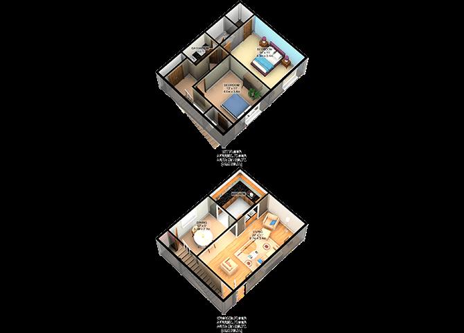 B2 2Bedroom 1.5Bathroom FloorPlan at Carelton Courtyard, Galveston, TX