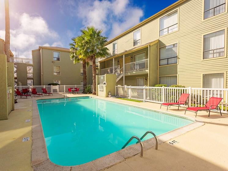 Sparkling Swimming Pool at Carelton Courtyard Apartments, Galveston, Texas