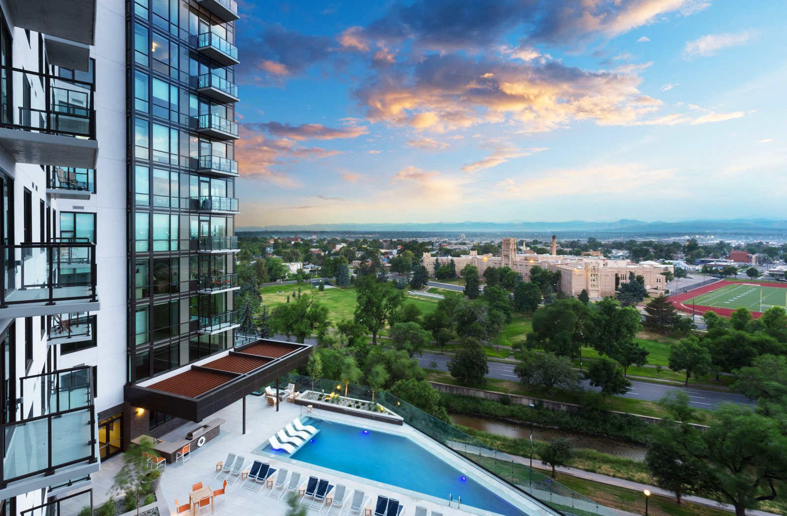 Infinity Edge Pool Complete with Fire Pit at 1000 Speer by Windsor, Denver